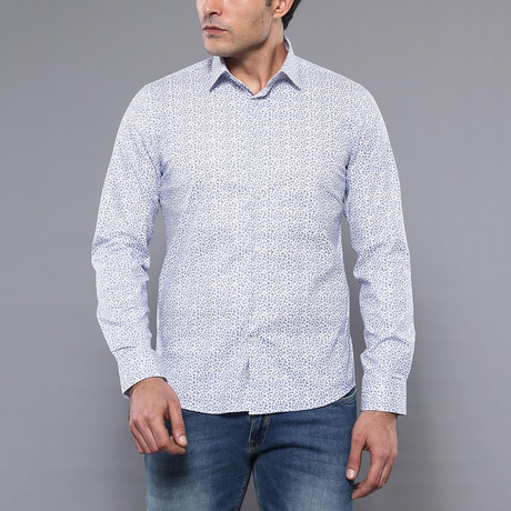 Wallace Slim-Fit Shirt // White + Blue (S)
