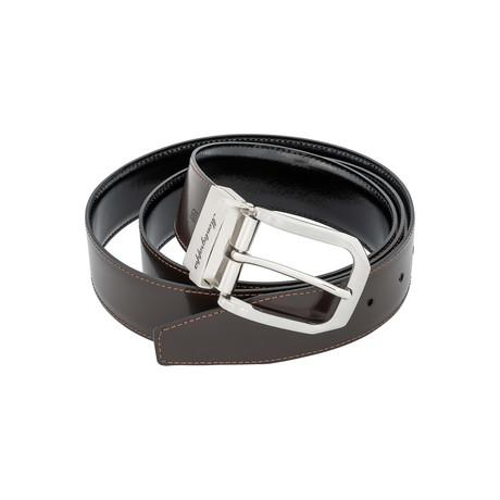 Montegrappa // Lucido Leather Reversible Belt // Black + Brown // IDBEVIBW.35