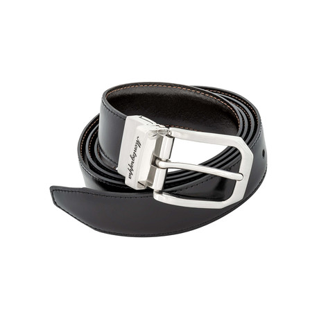 Montegrappa // Leather Reversible Belt // Black + Brown // IDBEBOBW.30