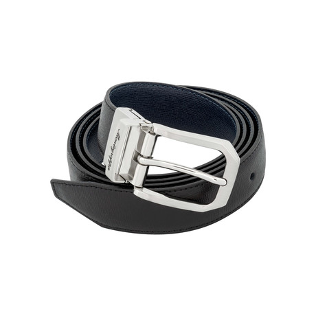Montegrappa // Saffiano Leather Reversible Belt // Black + Blue // IDBESABB.30