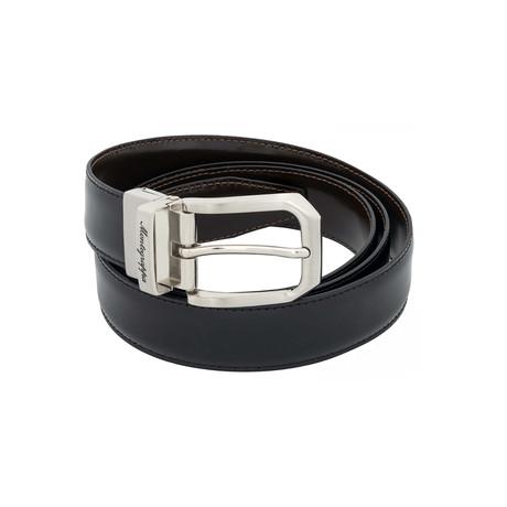 Montegrappa // Lucido Leather Reversible Belt // Black + Brown // IDBEVIBW.30