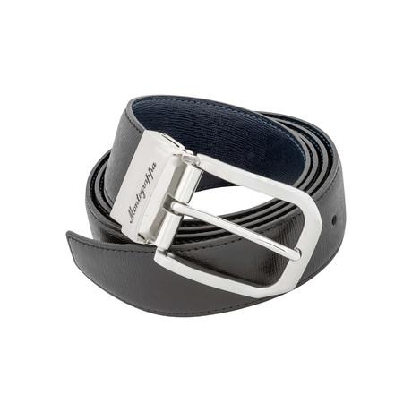 Montegrappa // Saffiano Leather Reversible Belt // Black + Blue // IDBESABB.35