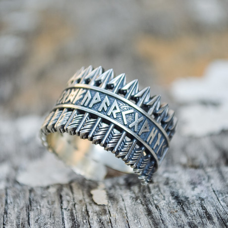 Viking Collection // Elder Futhark Runes + Arrows Ring (5)