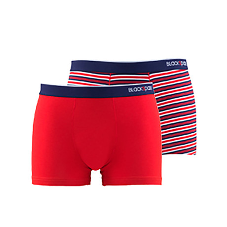 Men's Striped Boxers // Red // Pack of 2 (XS)