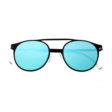 Avalon Polarized Sunglasses (Black Frame + Blue Lens)