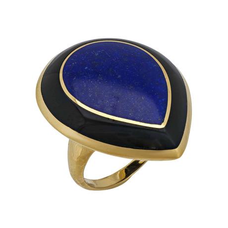 Ippolita Polished Rock Candy 18k Yellow Gold Lapis + Onyx Large Teardrop Ring