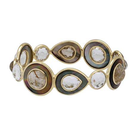 Ippolita Ondine 18k Yellow Gold Rutilated Quartz + Mother of Pearl Bangle Bracelet