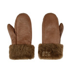 Unisex Shearling Mittens // Brown (Large)