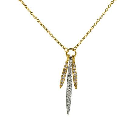 Gurhan 18k White Gold + 22k Yellow Gold Whisper Diamond Pendant Necklace