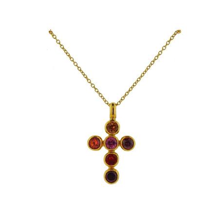 Gurhan 22k Yellow Gold Juju Gemstone Cross Pendant Necklace