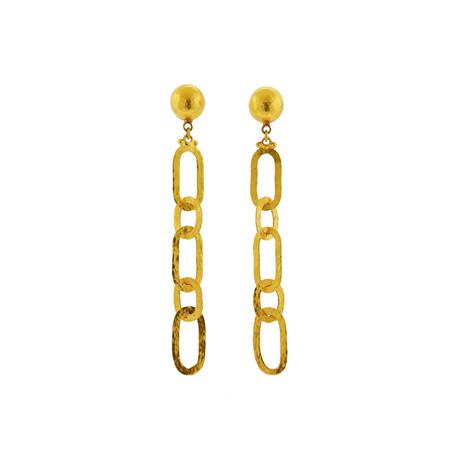 Gurhan 24k Yellow Gold Mango Link Chain Earrings