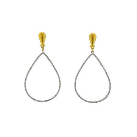 Gurhan 18k White Gold + 24k Yellow Gold Pear Geo Diamond Drop Earrings