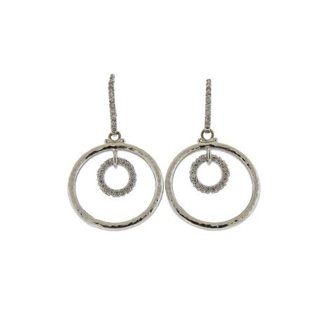 Gurhan 18k White Gold Hoopla Diamond Circle Earrings