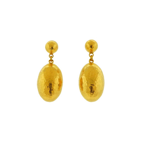 Gurhan 24k Yellow Gold Cocoon Hammered Drop Earrings