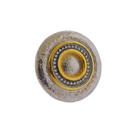 Gurhan Sterling Silver + 24k Yellow Gold Moon Beam Diamond Ring