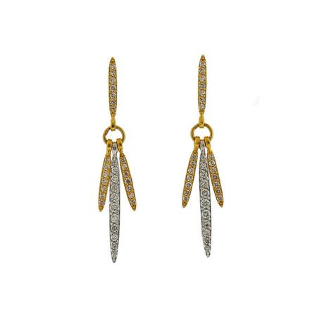 Gurhan 18k White Gold + 22k Yellow Gold Whisper Diamond Drop Earrings