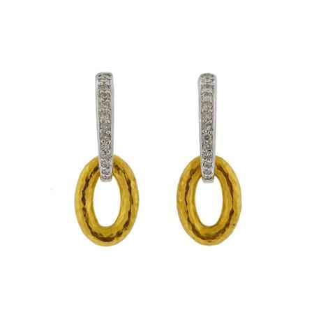 Gurhan 18k White Gold + 24k Yellow Gold Galahad Diamond Drop Earrings