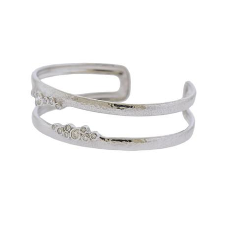Gurhan 18k White Gold Pointelle Diamond Cuff Bracelet II