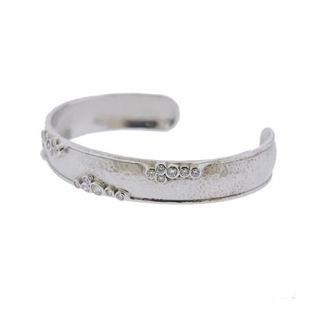 Gurhan 18k White Gold Pointelle Diamond Cuff Bracelet I