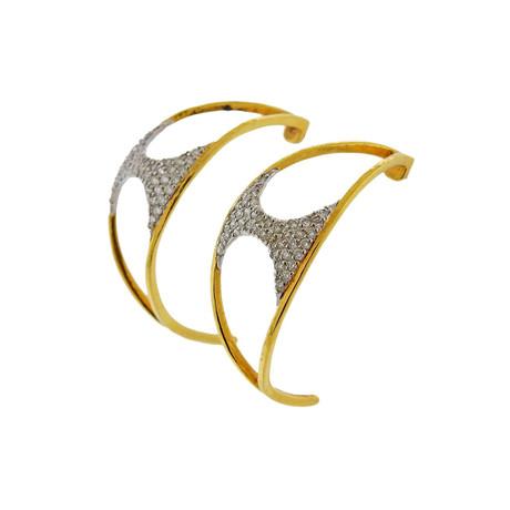 Gurhan 18k White Gold + 22k Yellow Gold Tuxedo Diamond Half Hoop Earrings