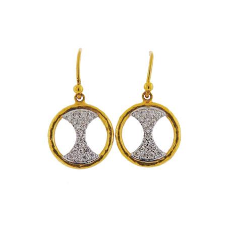 Gurhan 18k White Gold + 24k Yellow Gold Tuxedo Diamond Drop Earrings II