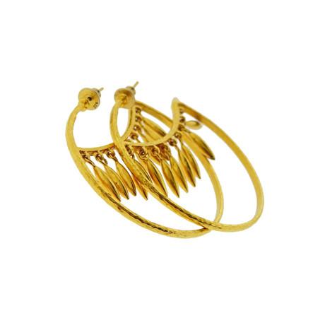Gurhan 24k Yellow Gold Hanging Wheats Hoop Earrings