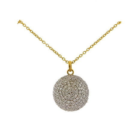 Gurhan 18k White Gold + 22k Yellow Gold Juju Diamond Pendant Necklace