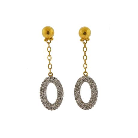 Gurhan 22k Yellow Gold + 24k Yellow Gold Galahad Diamond Chain Earrings