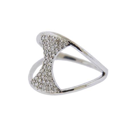 Gurhan 18k White Gold Tuxedo Diamond Ring // Ring Size: 8.25