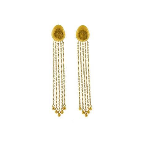 Gurhan 22k Yellow Gold Spell Pebble Long Tassel Earrings