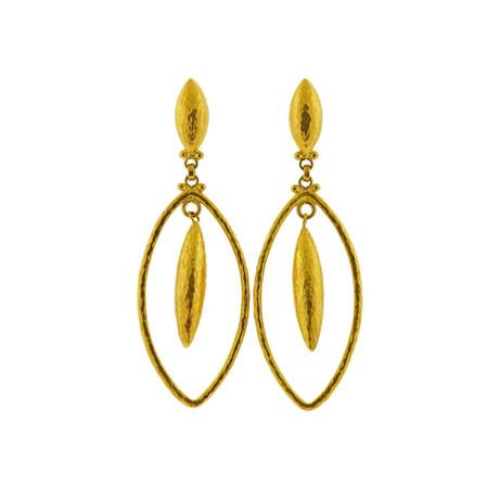 Gurhan 24k Yellow Gold Marquise Geo Drop Earrings