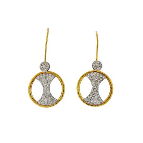 Gurhan 18k White Gold + 24k Yellow Gold Tuxedo Diamond Drop Earrings I