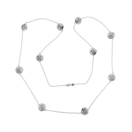 Gurhan 18k White Gold Topkapi Diamond Station Long Necklace