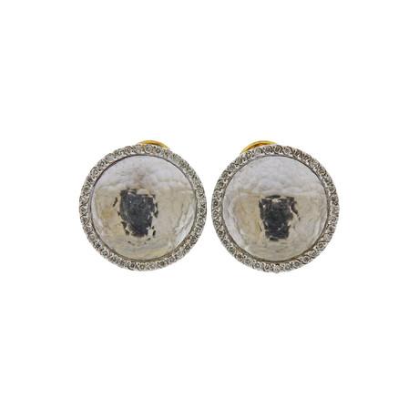 Gurhan 18k White Gold Hourglass Diamond Earrings I