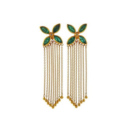Gurhan 24k Yellow Gold Emerald + Diamond Tassel Earrings