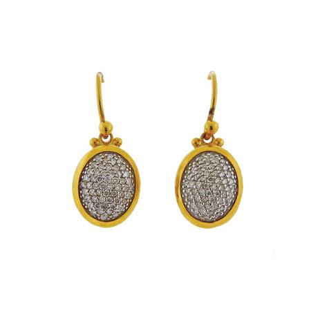 Gurhan 18k White Gold + 22k Yellow Gold Amulet Diamond Drop Earrings