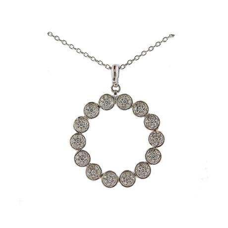 Gurhan 18k White Gold Delicate Open Circle Diamond Pendant Necklace
