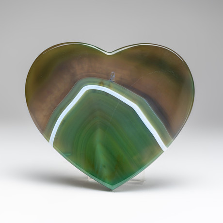 Banded Green Agate Heart + Acrylic Display Stand