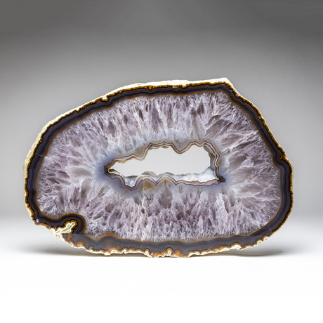 Agate Geode Slice With Amethyst Quartz Center + Acrylic Display Stand