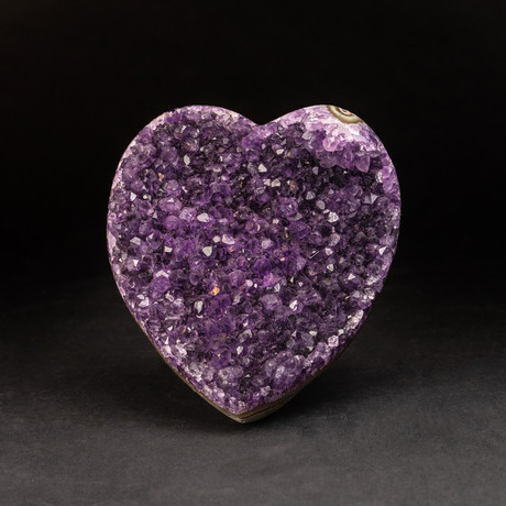 Genuine Amethyst Clustered Heart + Acrylic Display Stand v.2