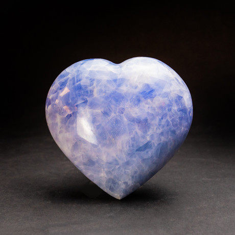 Blue Calcite Heart + Acrylic Display Stand v.1