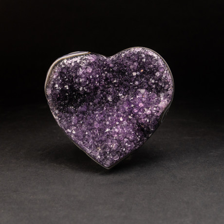 Genuine Amethyst Clustered Heart + Acrylic Display Stand v.3