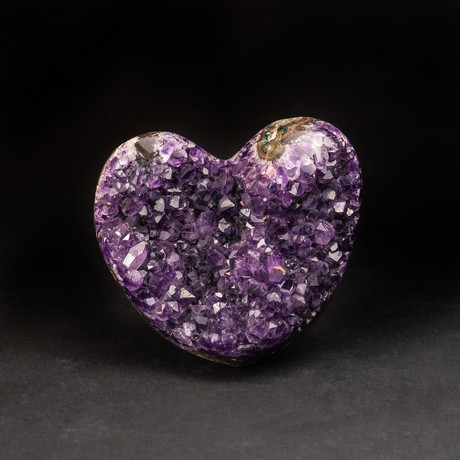 Genuine Amethyst Clustered Heart + Acrylic Display Stand v.1