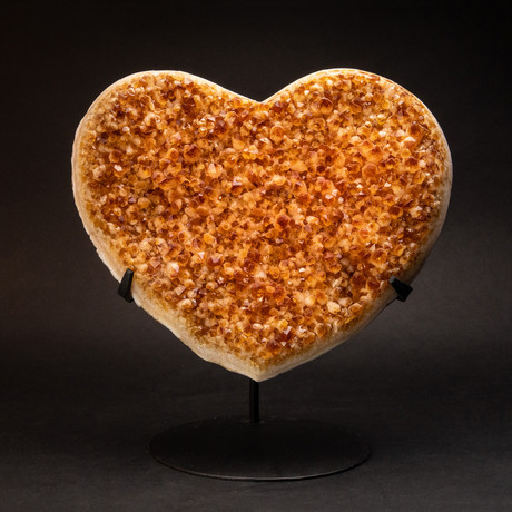 Genuine Citrine Clustered Heart + Metal Stand // 14""