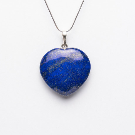 Lapis Lazuli Heart Pendant + Sterling Silver Chain // 18""