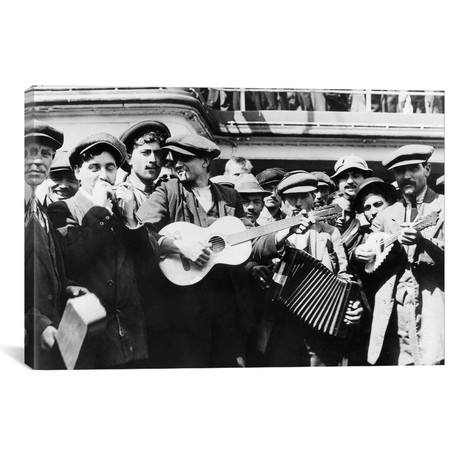 "Immigrant Band, C1905 // Lewis Hine (18""W x 12""H x 0.75""D)"