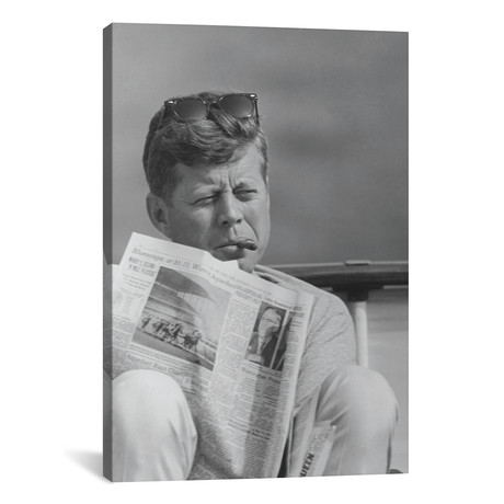 "President John F Kennedy Smoking A Cigar And Reading The Newspaper // John Parrot (12""W x 18""H x 0.75""D)"