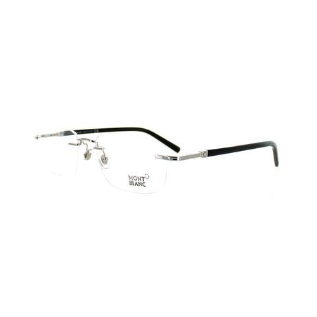 Montblanc // Men's Rectangular Optical Frames // Silver + Black