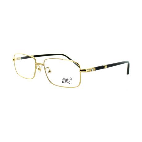 Montblanc // Men's Rectangular Optical Frames // Shiny Gold