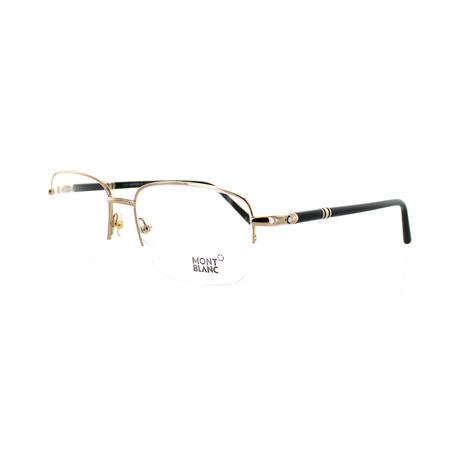Montblanc // Men's Rectangular Optical Frames V3 // Rose Gold + Black